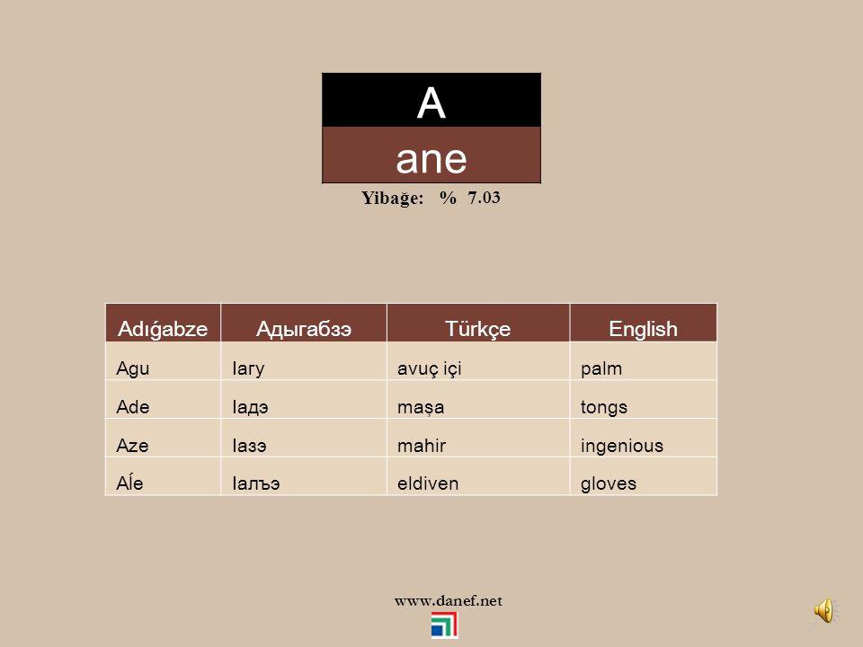 A ane Adıǵabze Адыгабзэ Türkçe English Yibağe: % 7.03 Agu Iагу