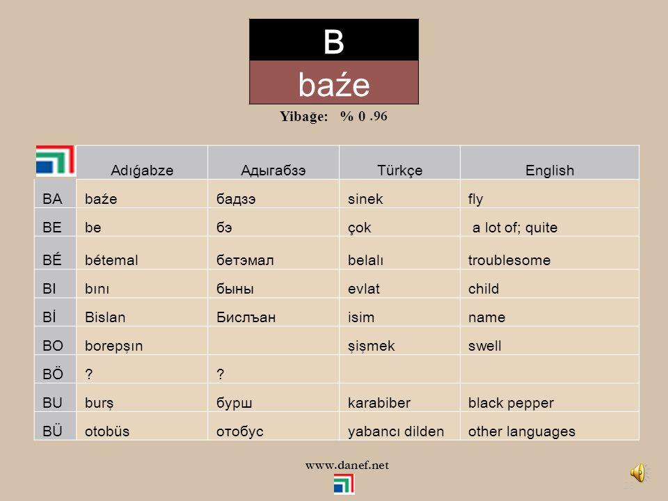 B baźe Yibağe: % 0 .96 Adıǵabze Адыгабзэ Türkçe English BA baźe бадзэ