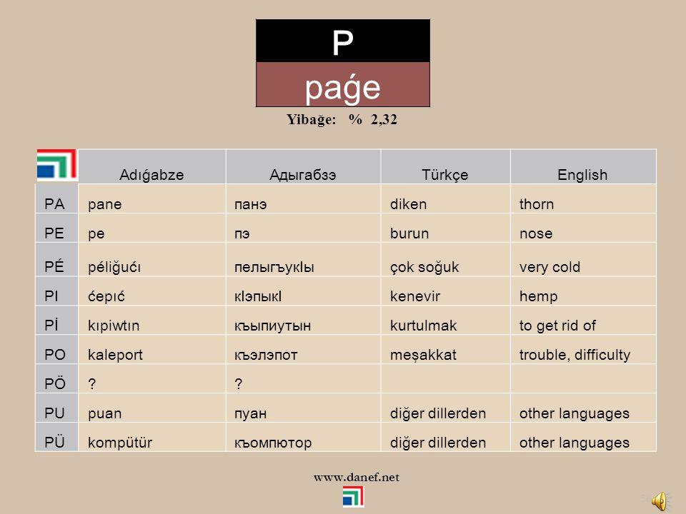 P paǵe Yibağe: % 2,32 Adıǵabze Адыгабзэ Türkçe English PA pane панэ