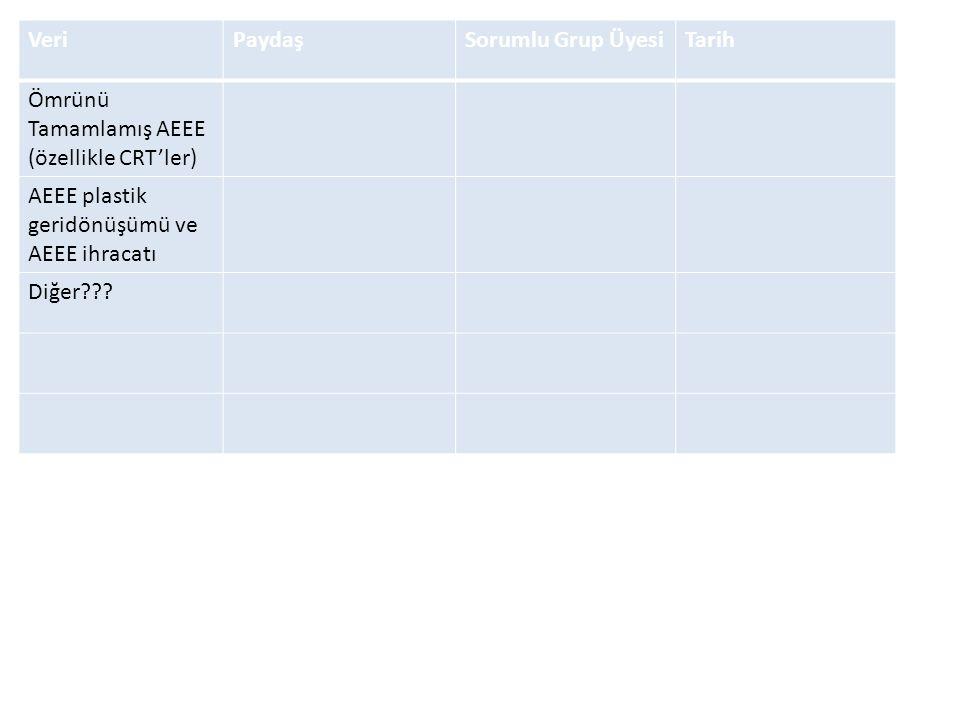 Veri Paydaş. Sorumlu Grup Üyesi. Tarih. Ömrünü Tamamlamış AEEE (özellikle CRT'ler) AEEE plastik geridönüşümü ve AEEE ihracatı.