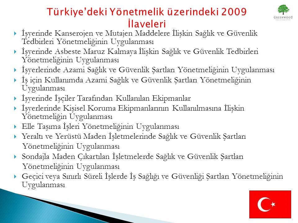 Türkiye'deki Yönetmelik üzerindeki 2009 İlaveleri