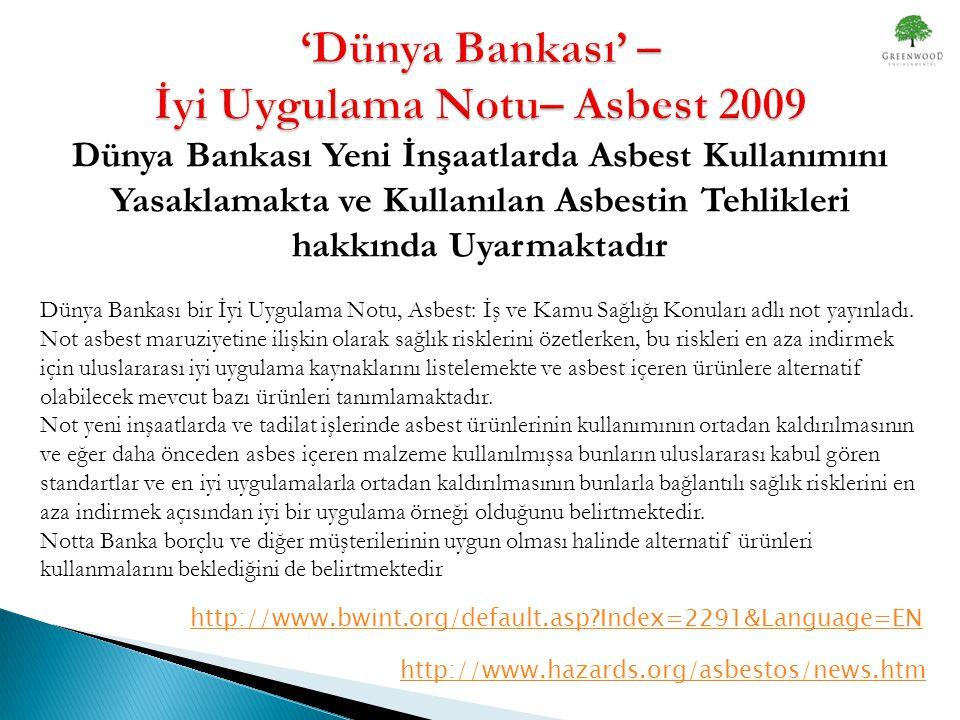 'Dünya Bankası' – İyi Uygulama Notu– Asbest 2009