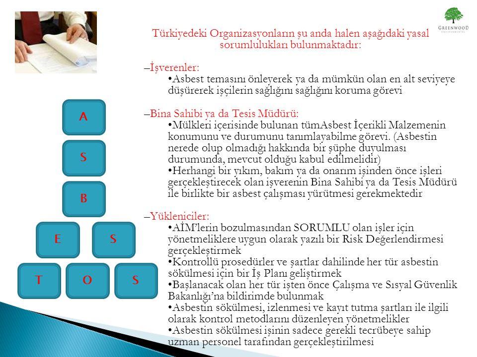 Türkiyedeki Organizasyonların şu anda halen aşağıdaki yasal sorumlulukları bulunmaktadır: