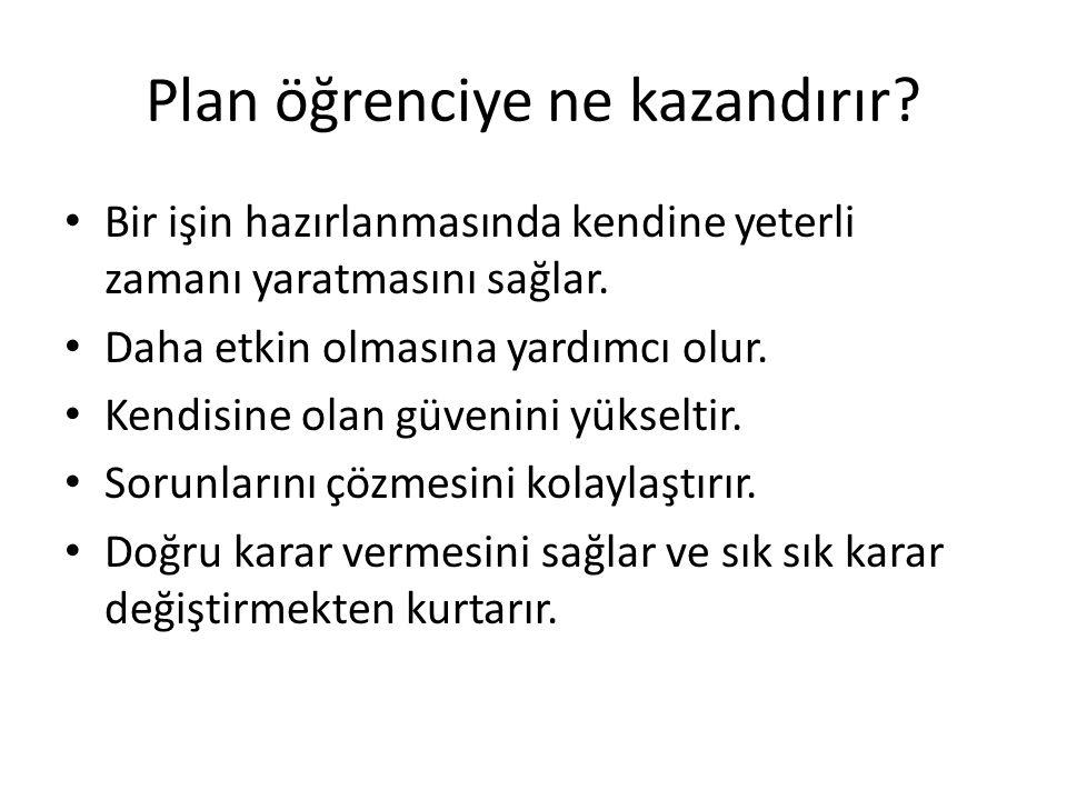 Plan öğrenciye ne kazandırır