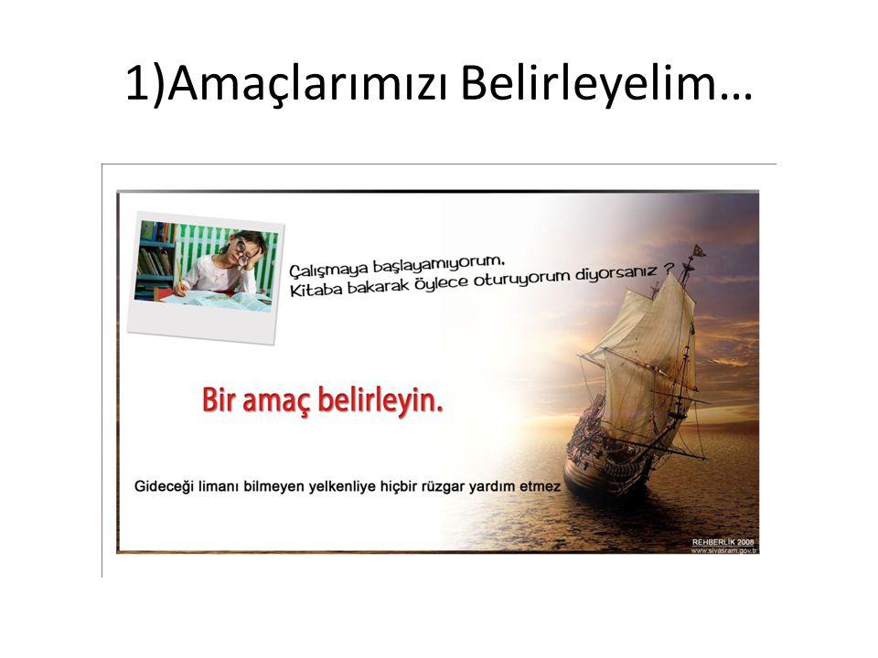 1)Amaçlarımızı Belirleyelim…