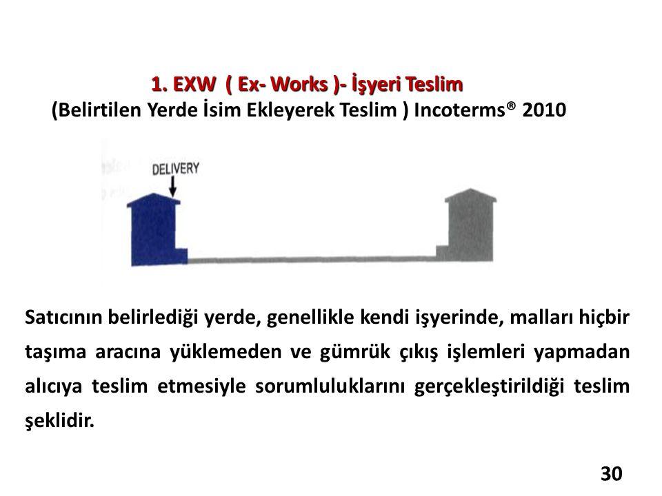 1. EXW ( Ex- Works )- İşyeri Teslim (Belirtilen Yerde İsim Ekleyerek Teslim ) Incoterms® 2010