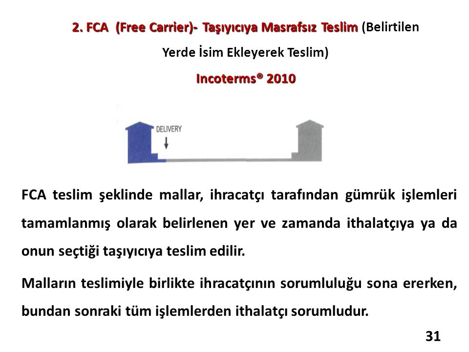 2. FCA (Free Carrier)- Taşıyıcıya Masrafsız Teslim (Belirtilen Yerde İsim Ekleyerek Teslim) Incoterms® 2010