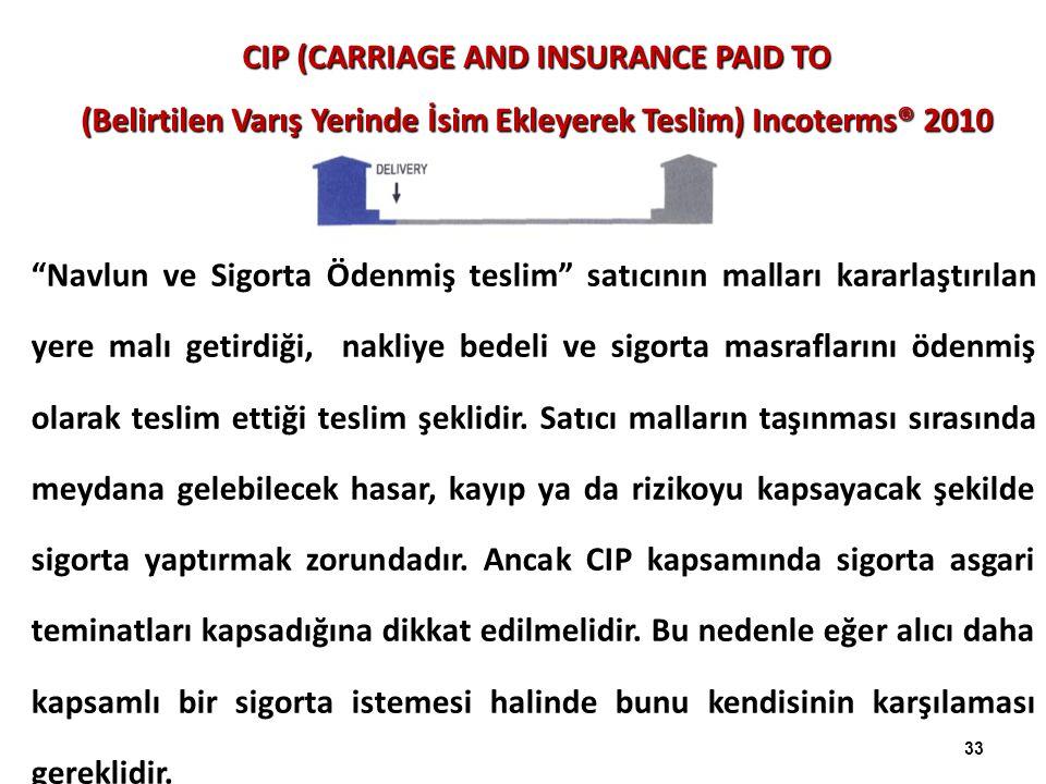 CIP (CARRIAGE AND INSURANCE PAID TO (Belirtilen Varış Yerinde İsim Ekleyerek Teslim) Incoterms® 2010