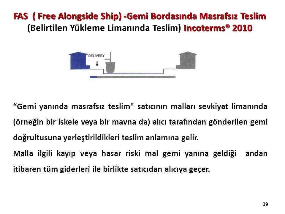 FAS ( Free Alongside Ship) -Gemi Bordasında Masrafsız Teslim (Belirtilen Yükleme Limanında Teslim) Incoterms® 2010