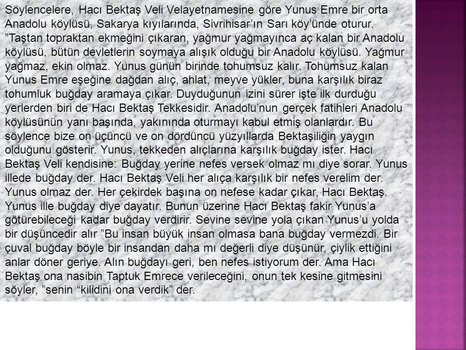 Söylencelere, Hacı Bektaş Veli Velayetnamesine göre Yunus Emre bir orta Anadolu köylüsü, Sakarya kıyılarında, Sivrihisar'ın Sarı köy'ünde oturur.