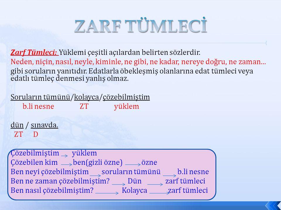 ZARF TÜMLECİ Zarf Tümleci: Yüklemi çeşitli açılardan belirten sözlerdir.