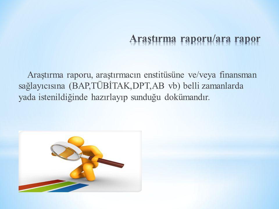 Araştırma raporu/ara rapor