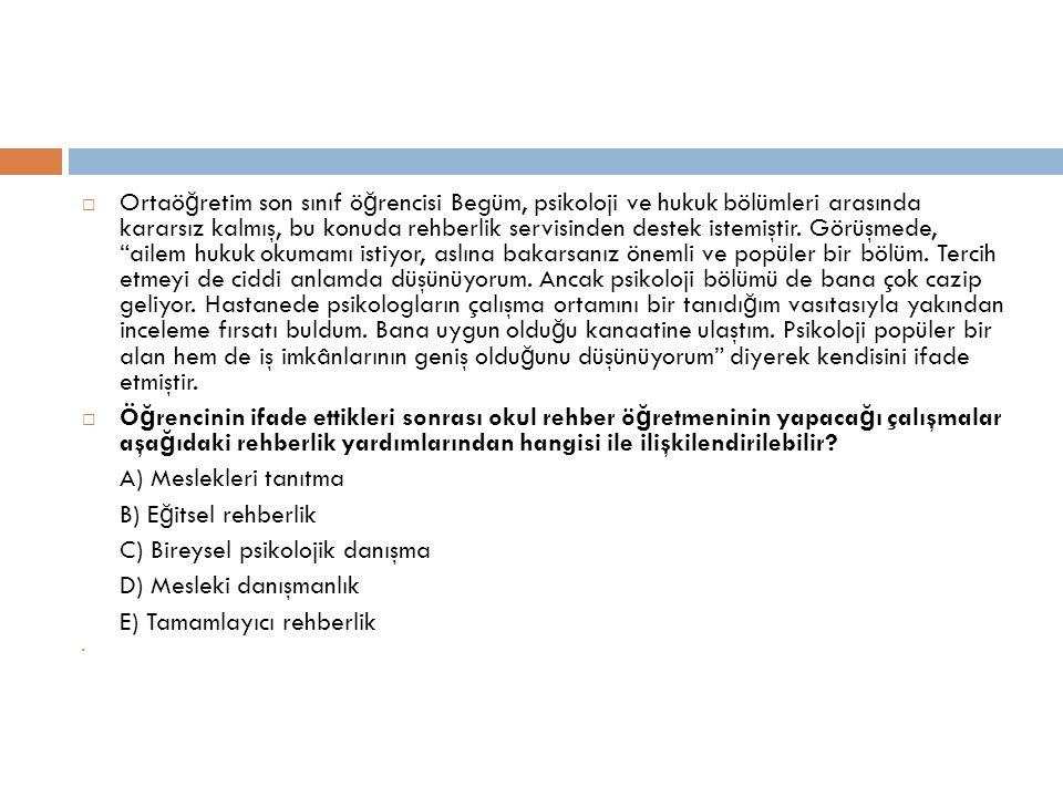 C) Bireysel psikolojik danışma D) Mesleki danışmanlık