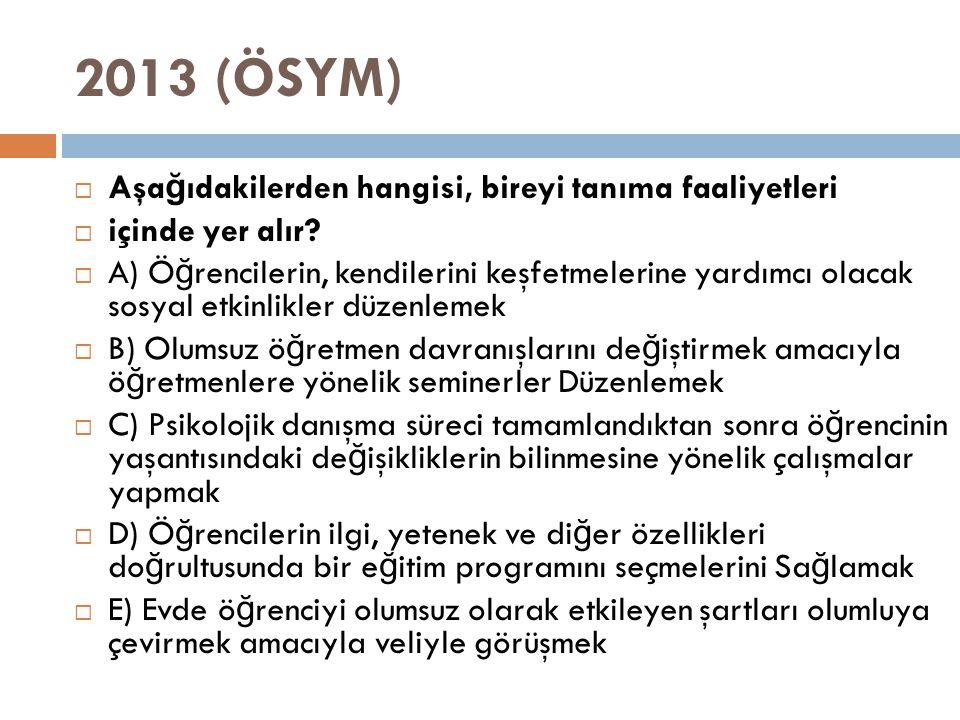 2013 (ÖSYM) Aşağıdakilerden hangisi, bireyi tanıma faaliyetleri
