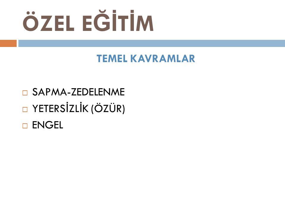 ÖZEL EĞİTİM TEMEL KAVRAMLAR SAPMA-ZEDELENME YETERSİZLİK (ÖZÜR) ENGEL