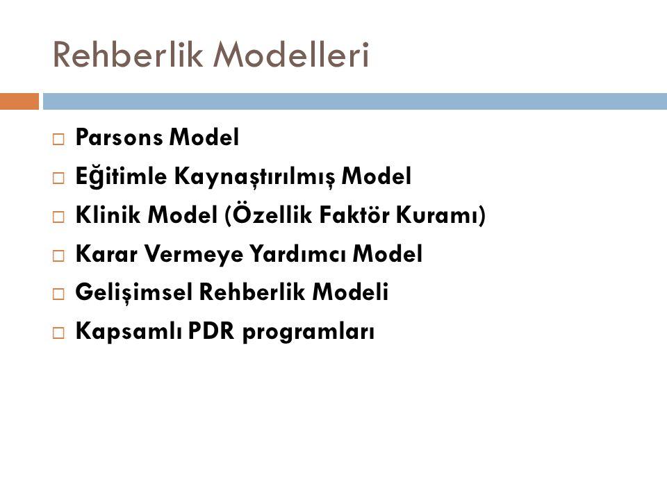 Rehberlik Modelleri Parsons Model Eğitimle Kaynaştırılmış Model
