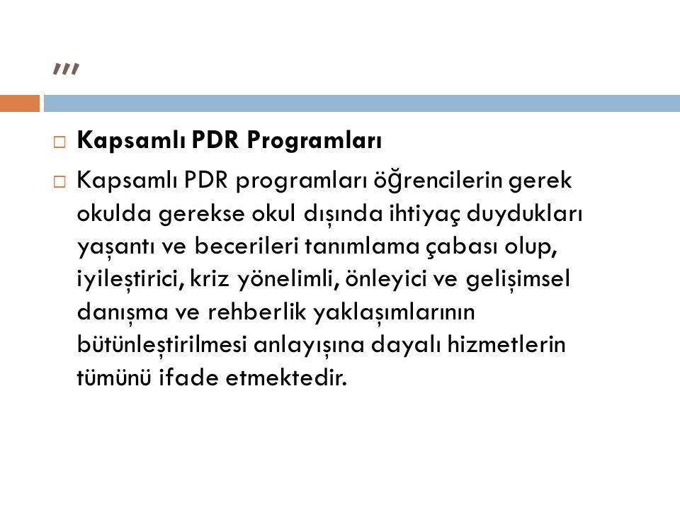 ,,, Kapsamlı PDR Programları