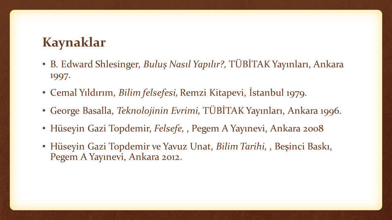 Kaynaklar B. Edward Shlesinger, Buluş Nasıl Yapılır , TÜBİTAK Yayınları, Ankara 1997.