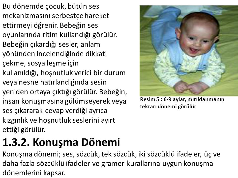 Bu dönemde çocuk, bütün ses mekanizmasını serbestçe hareket ettirmeyi öğrenir. Bebeğin ses oyunlarında ritim kullandığı görülür. Bebeğin çıkardığı sesler, anlam yönünden incelendiğinde dikkati çekme, sosyalleşme için