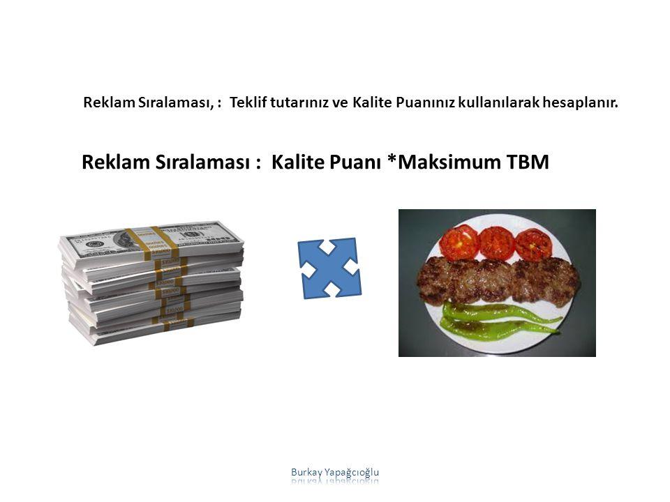Reklam Sıralaması : Kalite Puanı *Maksimum TBM