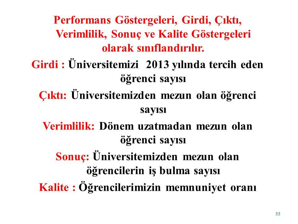 Performans Göstergeleri, Girdi, Çıktı, Verimlilik, Sonuç ve Kalite Göstergeleri olarak sınıflandırılır.