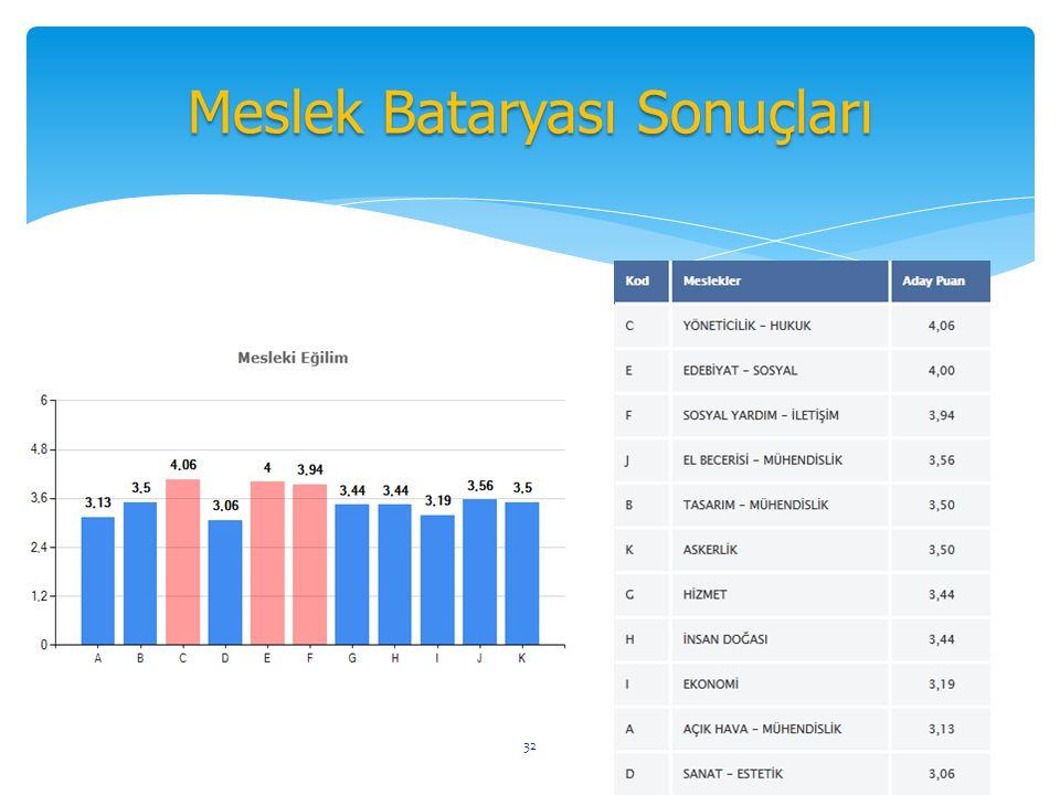 Meslek Bataryası Sonuçları