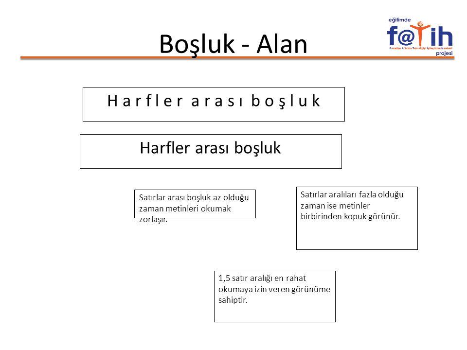Boşluk - Alan H a r f l e r a r a s ı b o ş l u k Harfler arası boşluk