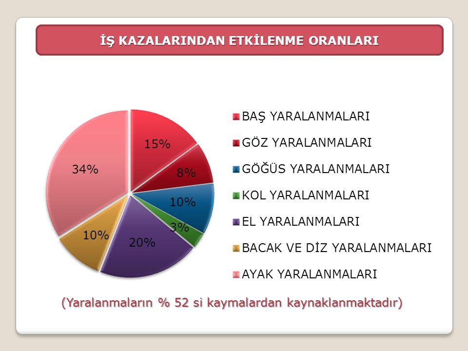 İŞ KAZALARINDAN ETKİLENME ORANLARI