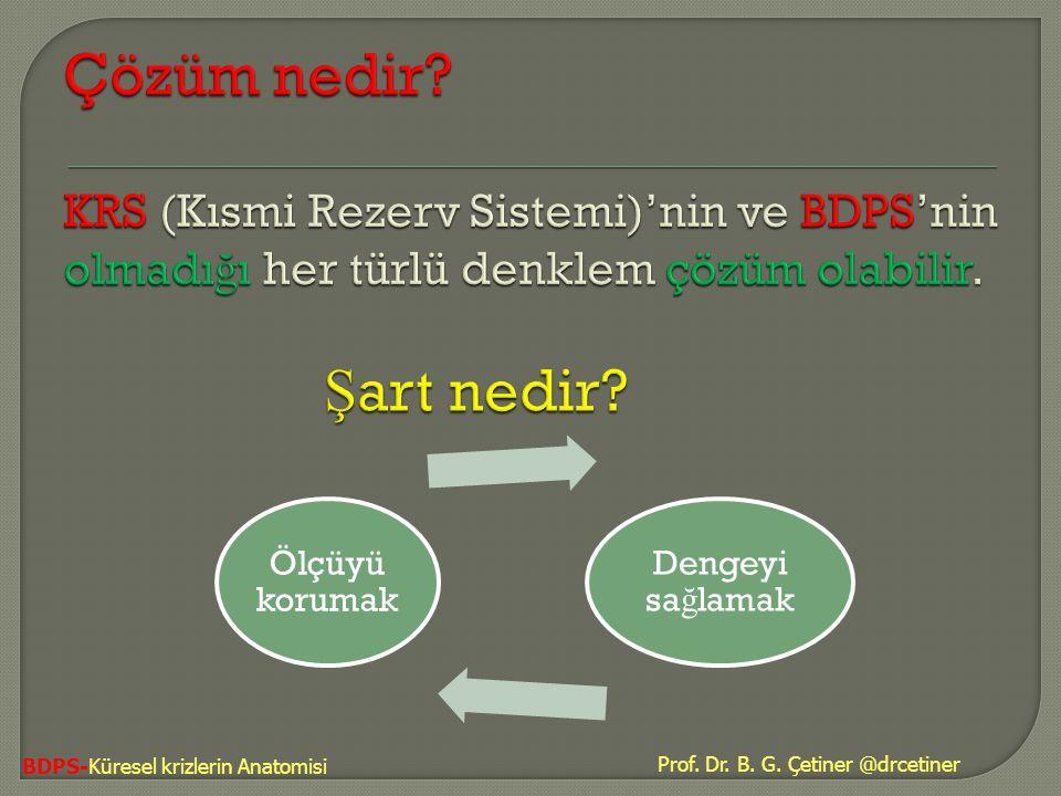 Çözüm nedir KRS (Kısmi Rezerv Sistemi)'nin ve BDPS'nin olmadığı her türlü denklem çözüm olabilir. Şart nedir