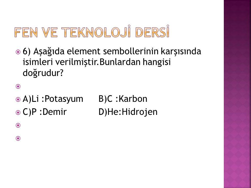FEN VE TEKNOLOJİ DERSİ 6) Aşağıda element sembollerinin karşısında isimleri verilmiştir.Bunlardan hangisi doğrudur