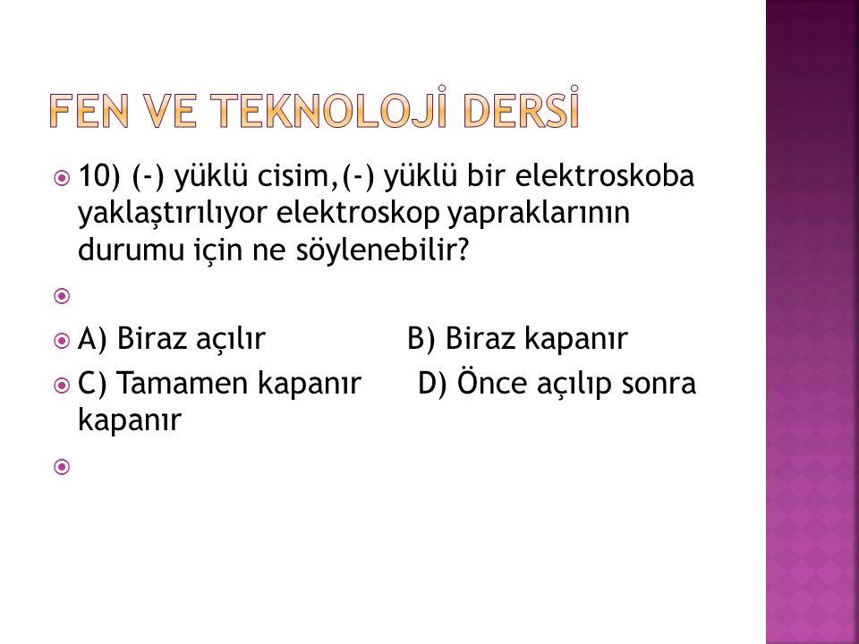 FEN VE TEKNOLOJİ DERSİ 10) (-) yüklü cisim,(-) yüklü bir elektroskoba yaklaştırılıyor elektroskop yapraklarının durumu için ne söylenebilir