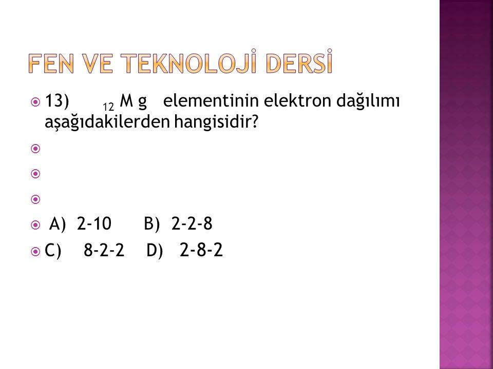 FEN VE TEKNOLOJİ DERSİ 13) 12 M g elementinin elektron dağılımı aşağıdakilerden hangisidir