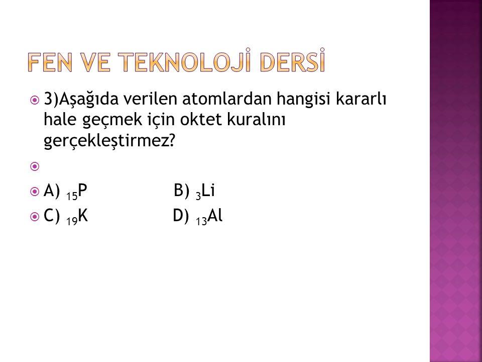 FEN VE TEKNOLOJİ DERSİ 3)Aşağıda verilen atomlardan hangisi kararlı hale geçmek için oktet kuralını gerçekleştirmez