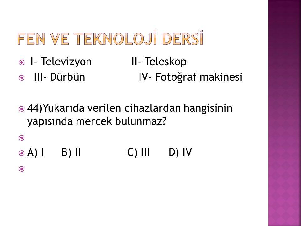 FEN VE TEKNOLOJİ DERSİ I- Televizyon II- Teleskop