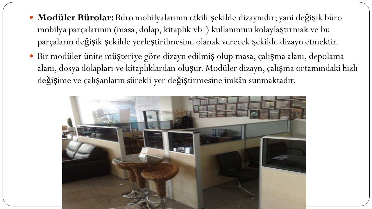 Modüler Bürolar: Büro mobilyalarının etkili şekilde dizaynıdır; yani değişik büro mobilya parçalarının (masa, dolap, kitaplık vb. ) kullanımını kolaylaştırmak ve bu parçaların değişik şekilde yerleştirilmesine olanak verecek şekilde dizayn etmektir.