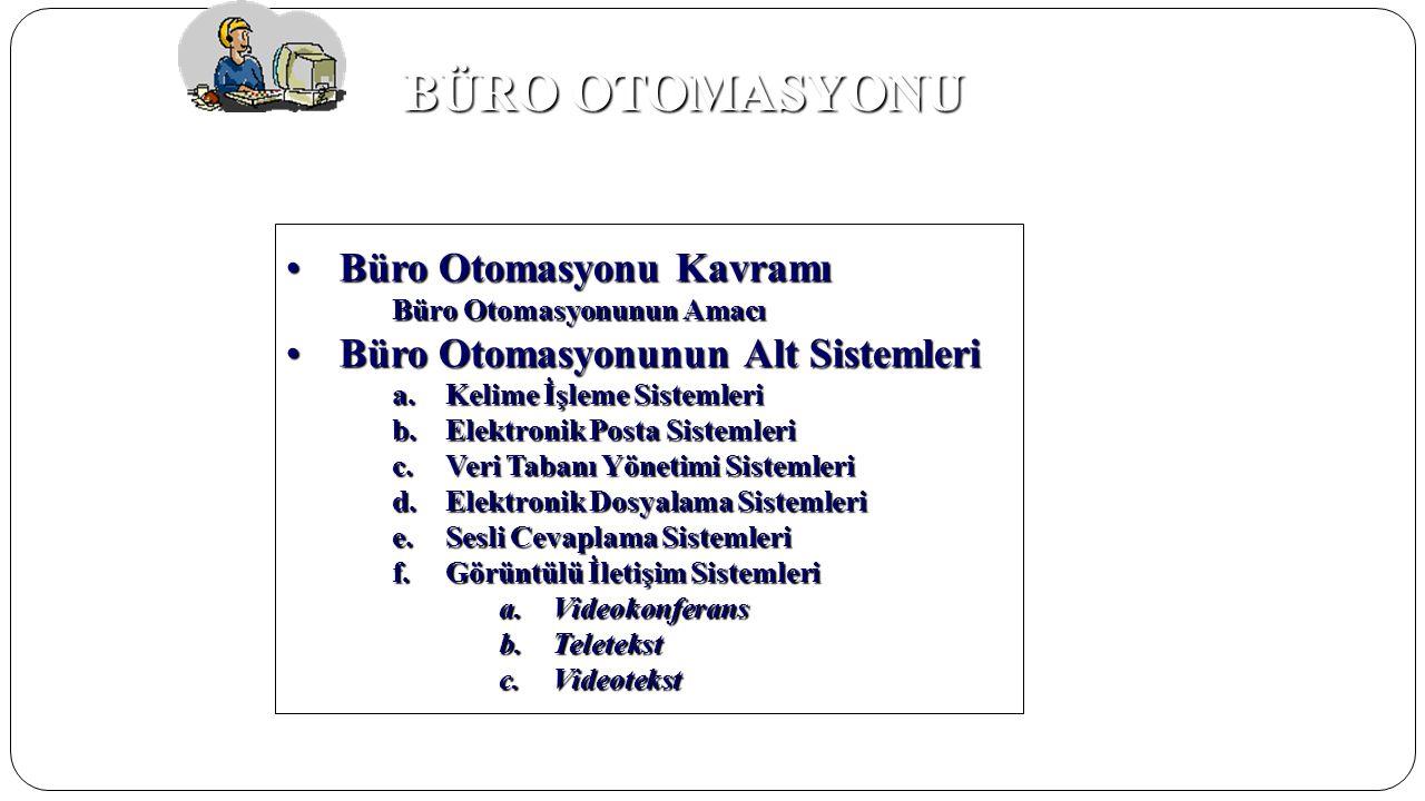 BÜRO OTOMASYONU Büro Otomasyonu Kavramı