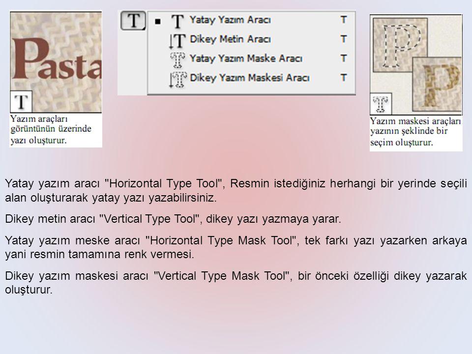 Yatay yazım aracı Horizontal Type Tool , Resmin istediğiniz herhangi bir yerinde seçili alan oluşturarak yatay yazı yazabilirsiniz.