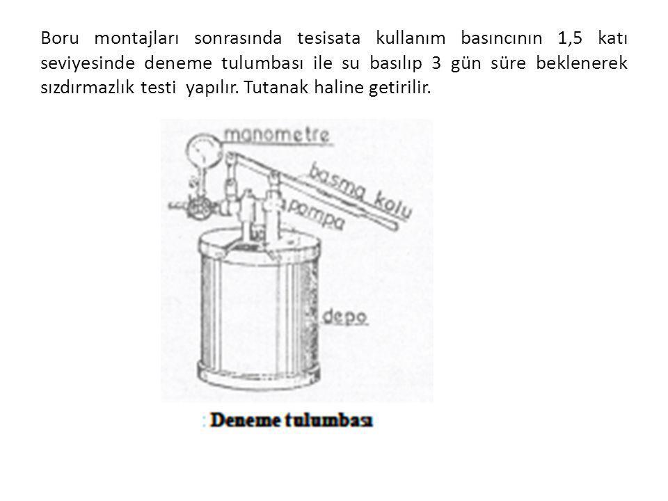 Boru montajları sonrasında tesisata kullanım basıncının 1,5 katı seviyesinde deneme tulumbası ile su basılıp 3 gün süre beklenerek sızdırmazlık testi yapılır.