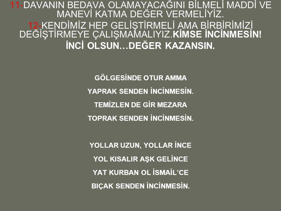 İNCİ OLSUN…DEĞER KAZANSIN.