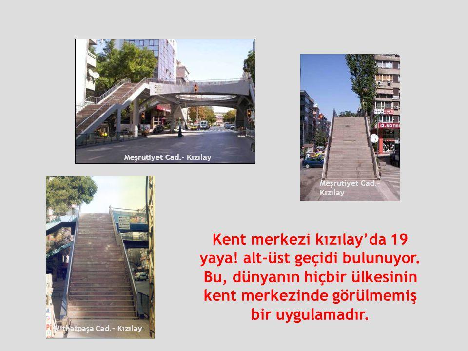Kent merkezi kızılay'da 19 yaya! alt-üst geçidi bulunuyor.