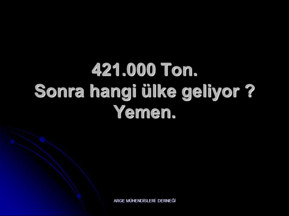 421.000 Ton. Sonra hangi ülke geliyor Yemen.