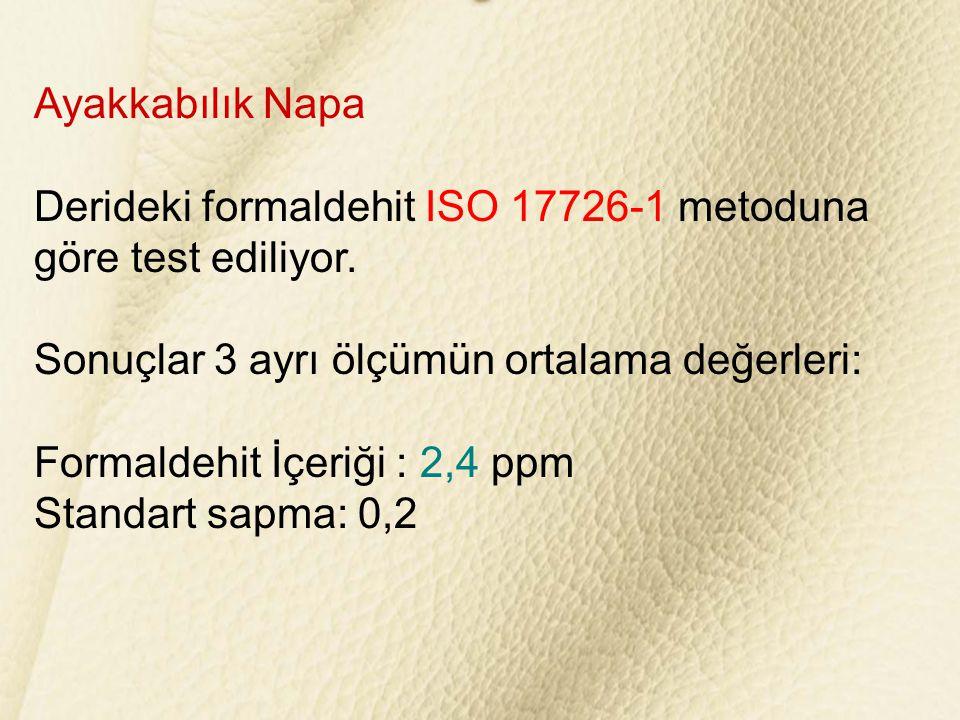 Ayakkabılık Napa Derideki formaldehit ISO 17726-1 metoduna. göre test ediliyor. Sonuçlar 3 ayrı ölçümün ortalama değerleri: