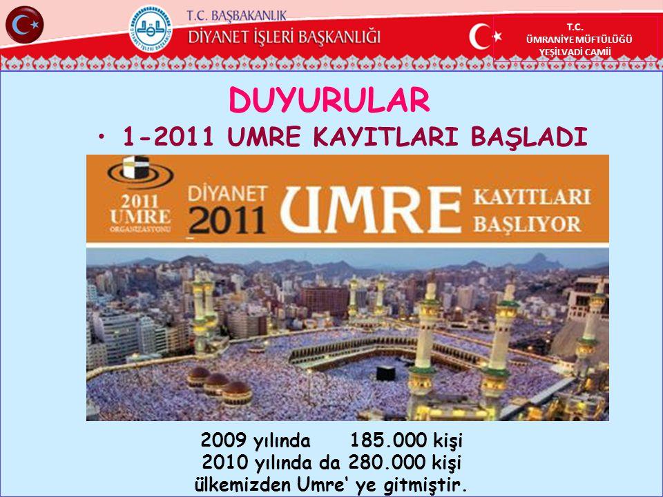 1-2011 UMRE KAYITLARI BAŞLADI ülkemizden Umre' ye gitmiştir.
