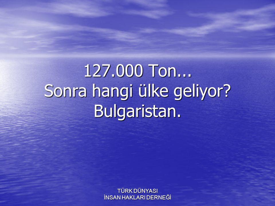 127.000 Ton... Sonra hangi ülke geliyor Bulgaristan.