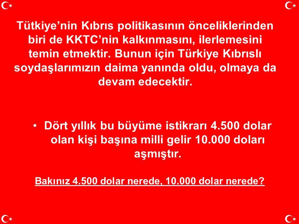 Tütkiye'nin Kıbrıs politikasının önceliklerinden biri de KKTC'nin kalkınmasını, ilerlemesini temin etmektir. Bunun için Türkiye Kıbrıslı soydaşlarımızın daima yanında oldu, olmaya da devam edecektir.