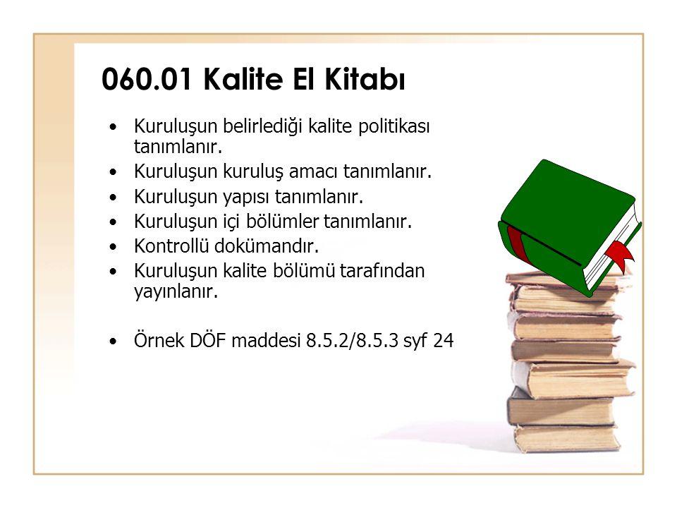 060.01 Kalite El Kitabı Kuruluşun belirlediği kalite politikası tanımlanır. Kuruluşun kuruluş amacı tanımlanır.