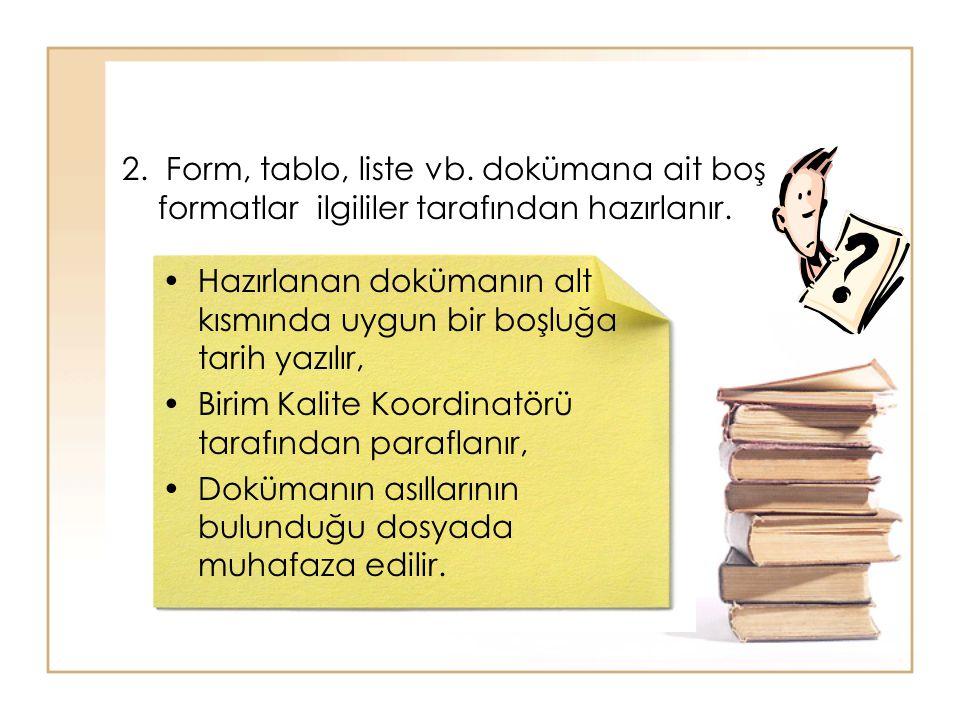 2. Form, tablo, liste vb. dokümana ait boş formatlar ilgililer tarafından hazırlanır.