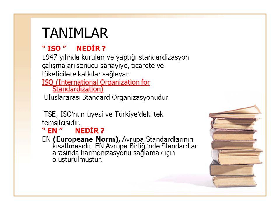 TANIMLAR ISO NEDİR 1947 yılında kurulan ve yaptığı standardizasyon. çalışmaları sonucu sanayiye, ticarete ve.