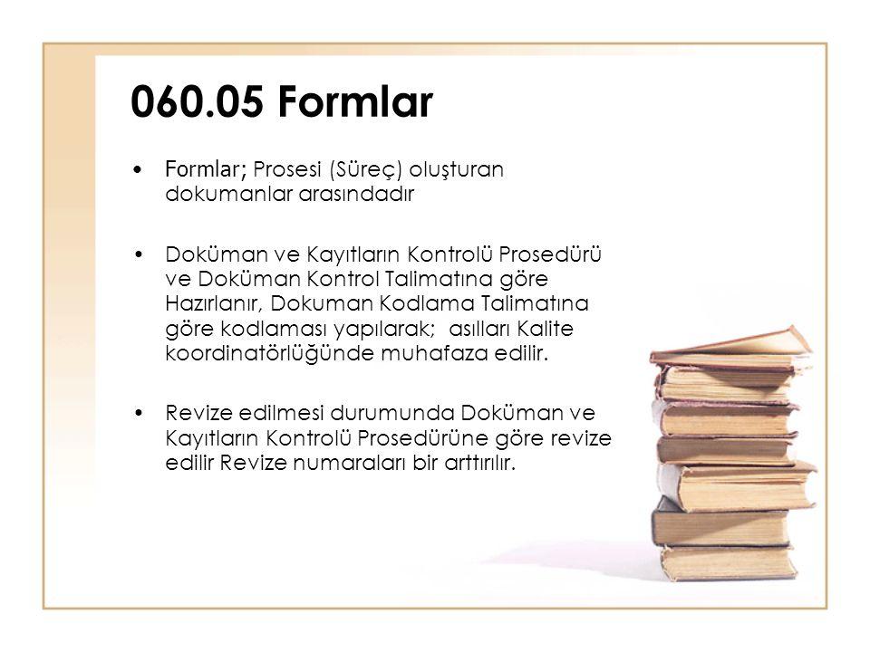 060.05 Formlar Formlar; Prosesi (Süreç) oluşturan dokumanlar arasındadır.