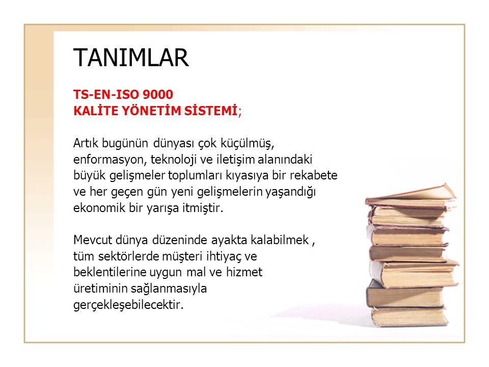 TANIMLAR TS-EN-ISO 9000 KALİTE YÖNETİM SİSTEMİ;